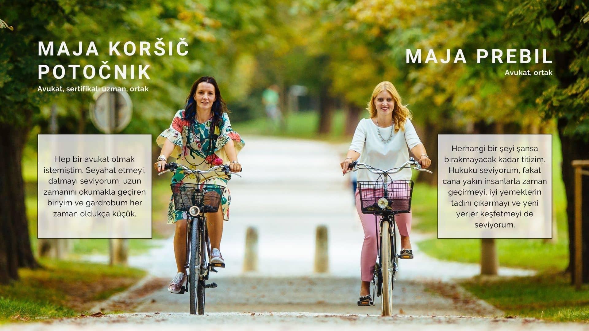 Maja K. Potočnik in Maja Prebil na kolesu